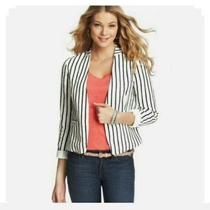 LOFT Sailor Stripe Collarless Linen Jacket